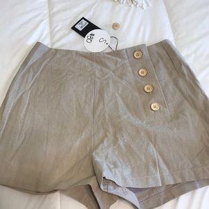 Boutique Khaki Shorts with Buttons